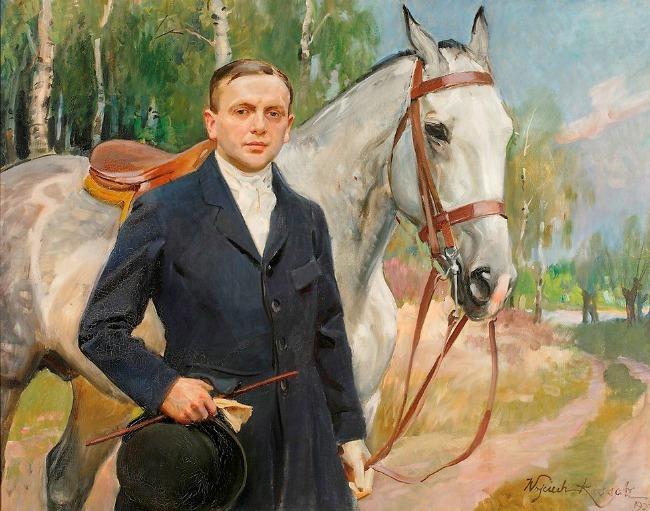 Wojciech Kossak. Portret Bronisława Krystalla z koniem, 1923. MNW