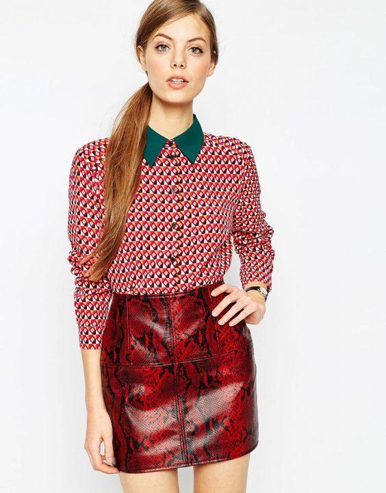 ASOS Geometric Contrast Collar Blouse £36.00