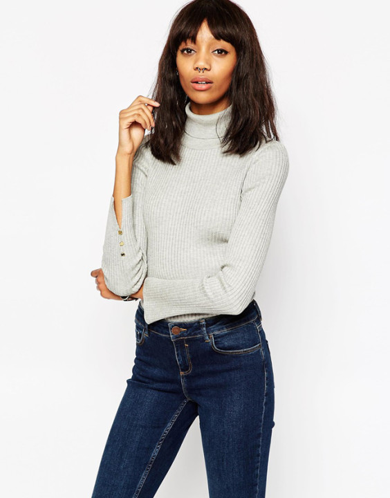 ASOS Ribbed Jumper With Roll Neck And Split Cuff Detail 32.35 EUR