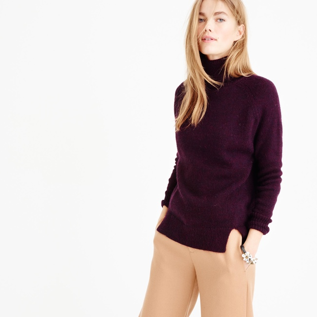 J.Crew TURTLENECK SWEATER WITH NOTCHED HEM 118 USD